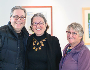 "Crestwoods Gallery hosted ""90 Years Young"" Feb. 7 celebrating artists Betty Fishman and Sue McCullough. Richard Hoying, Betty Fishman, Sally Felger"