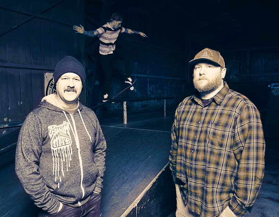 Rich Hoppe and Dan Butler with Nick Boxell on the skateboard. Photography by Ellie Bogue.