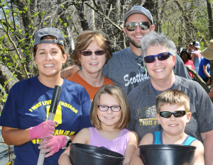 Save Maumee's Earth Day clean up was April 17 on the banks of the river. Front row: Adelle Miller, Max Miller. Back row: Jessie Miller, Deb Miller, Nick Miller, Gayle Newton