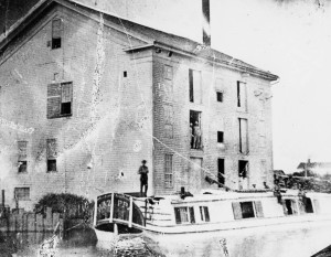 An example of a canal boat and warehouse from the1860s, courtesy of the Allen County Public Library digital collection
