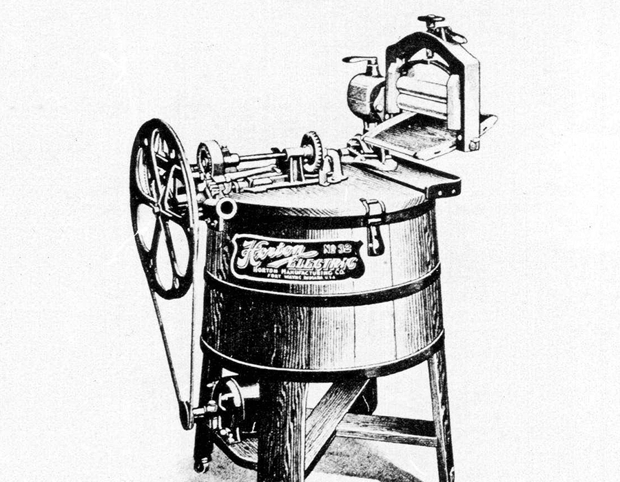 Horton No. 32 Dolly Type Washer with cypress tub. courtesy of the Allen County Public Library digital collection