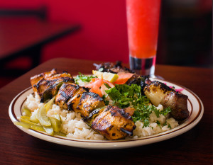 A kabob plate featuring chicken and beef. photography by Neal Bruns