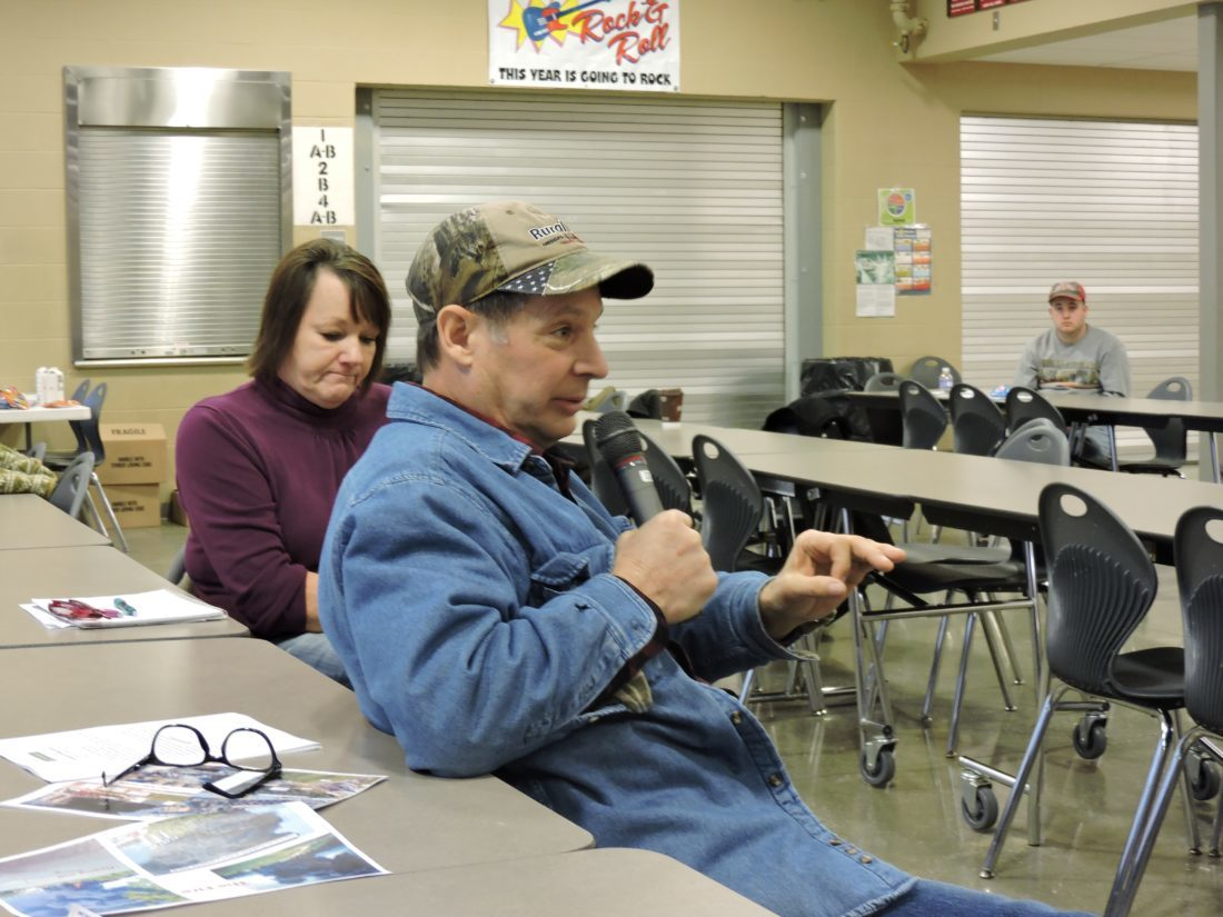 SPEAKING OUT — Noble County residents Sandra and Joe Perebzak claimed they have been adversely affected by the oil and gas industry. A community listening session was held Saturday at River High School. (Janell Hunter)