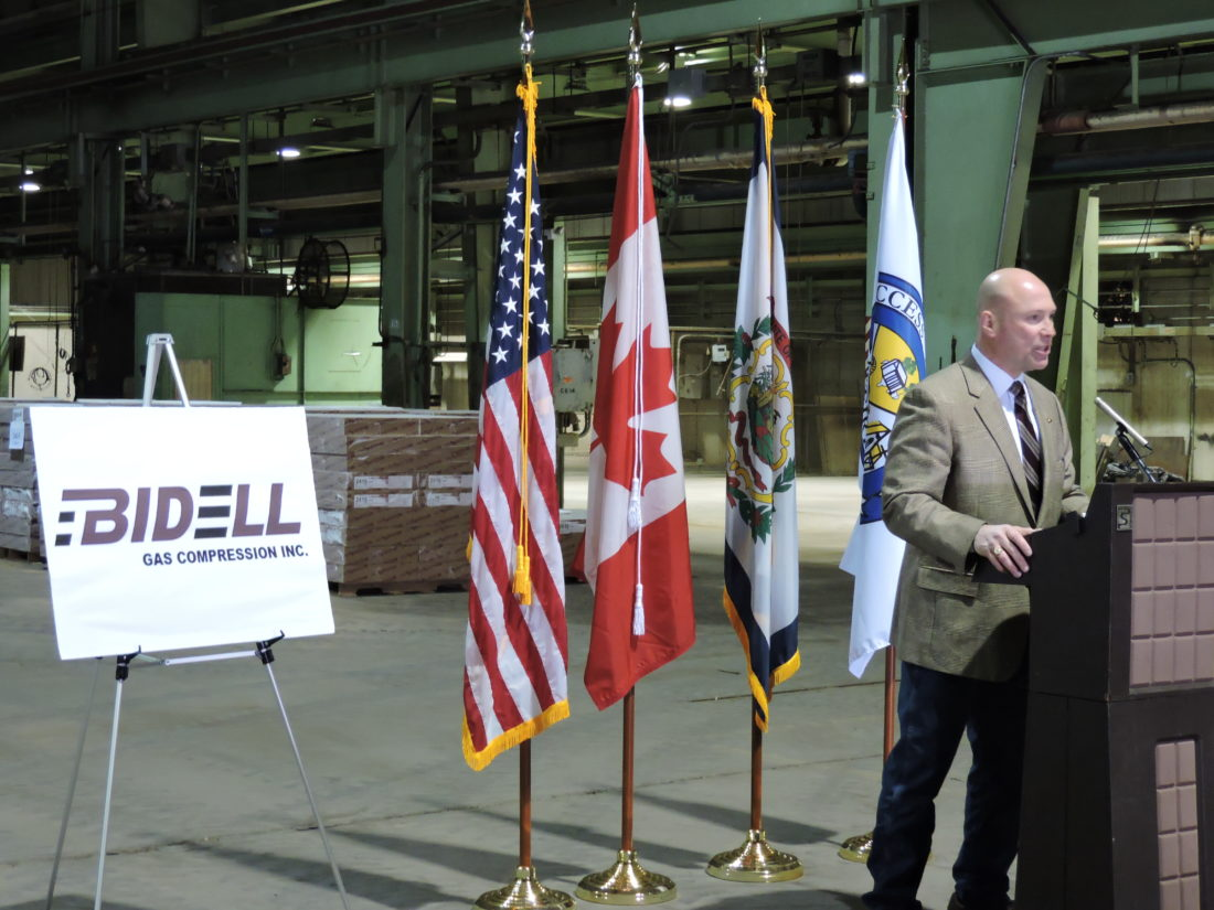 NEW BUSINESS FOR WEIRTON — Pat Ford, executive director of the Business Development Corp. of the Northern Panhandle, announced Friday that Canadian manufacturer Bidell Gas Compression will be locating in Weirton later this year. - Craig Howell
