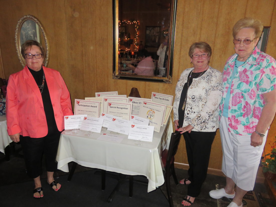 The Mingo Woman's Club won numerous state and district awards, placing 13th out of the top 20  clubs in Ohio, which has a total of 48 clubs. By the awards display are, from left, Janet Petrella, club president; Marjean Sizemore, second vice president of the GFWC/OFWC; and Mary Jane Tiberio, banquet co-chair. -- Janice Kiaski