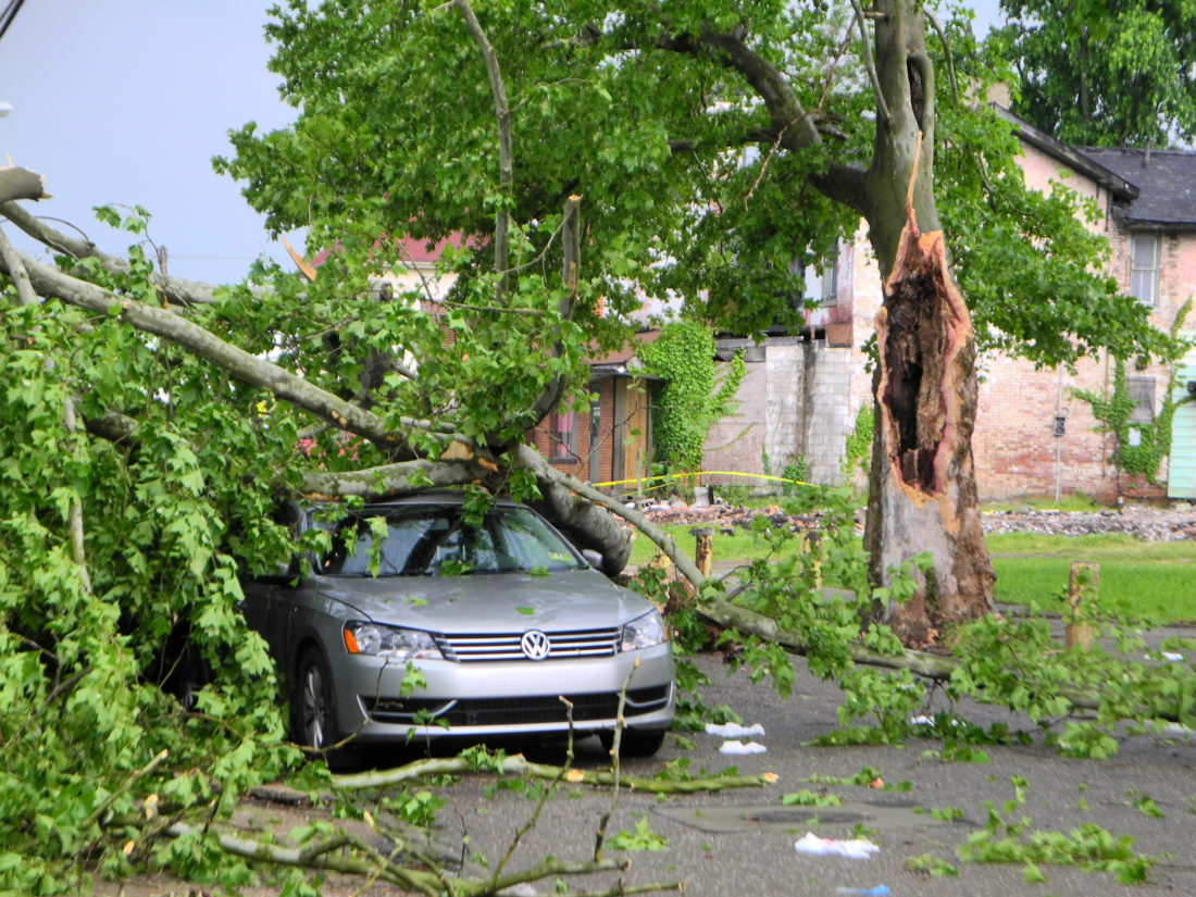 STORM DAMAGE — Thursday afternoon's storm brought large tree limbs down onto a parked, unoccupied vehicle and an adjacent yard near the intersection of North Sixth Street and Center Avenue in Steubenville. Utility lines also were brought down along the street. -- Warren Scott