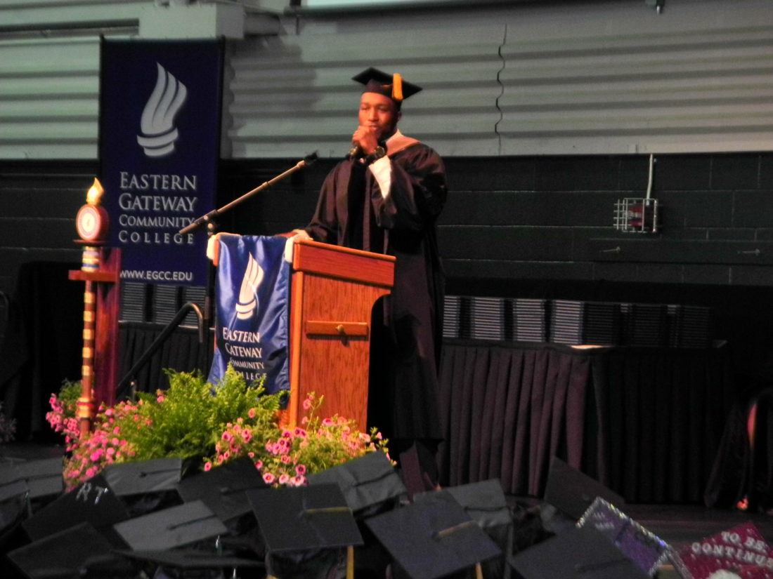 OFFERING ENCOURAGEMENT — Deryck Toles offered advice and encouragement as keynote speaker at Eastern Gateway Community College's 48th commencement program Saturday at Franciscan University's Finnegan Fieldhouse. -- Warren Scott