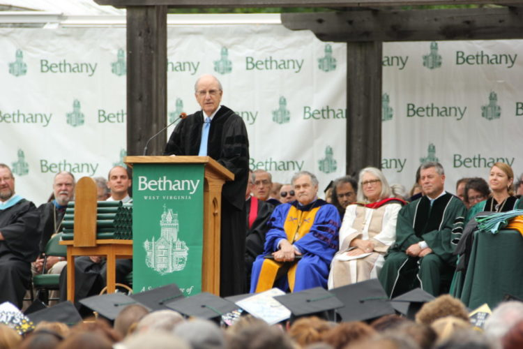 U.S. Sen. George J. Mitchell, D- Maine, former majority leader of the U.S. Senate, addressed members of the Bethany College Class of 2017 on Saturday. — Contributed