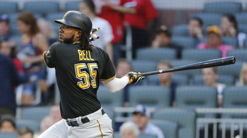 Pittsburgh Pirates first baseman Josh Bell (55) drives in a run with a double in the first inning of a baseball game against the Atlanta Braves, Tuesday, May 23, 2017, in Atlanta. (AP Photo/John Bazemore)