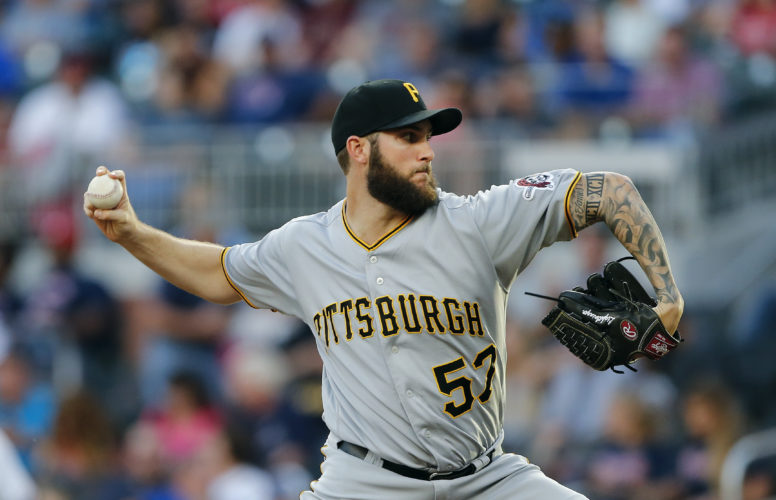 Pittsburgh Pirates relief pitcher Trevor Williams (57) delivers in the first inning of a baseball game against the Atlanta Braves Wednesday, May 24, 2017, in Atlanta. (AP Photo/John Bazemore)