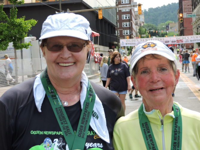 COMPLETE WALK — Rose Gray, left, and Ella Jane Custer are shown after completing their walk in the Ogden Newspapers Half Marathon Classic Walk on Saturday. - Heather Ziegler
