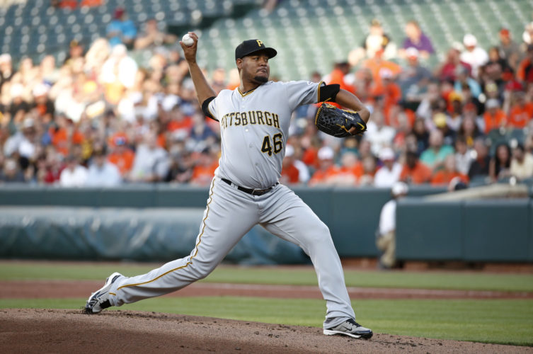 DELIVERING — Pittsburgh pitcher Ivan Nova works the plate early in the Pirates' interleague tussle against Baltimore on Tuesday night. -- Associated Press