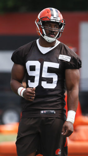 THUMBS UP — Cleveland Browns' Myles Garrett waits to run a drill during practice Tuesday in Berea. (Associated Press)
