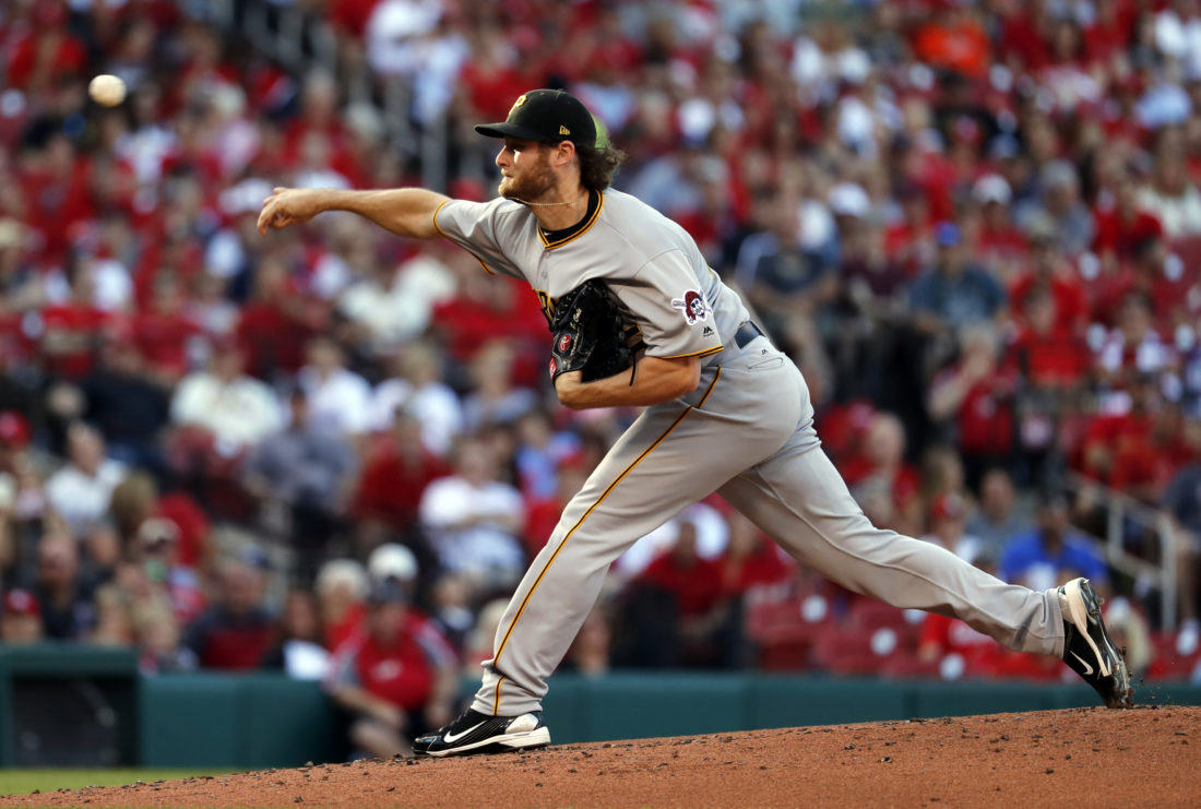 Pittsburgh Pirates starting pitcher Gerrit Cole throws during the first inning of a baseball game against the St. Louis Cardinals, Saturday, June 24, 2017, in St. Louis. (AP Photo/Jeff Roberson)