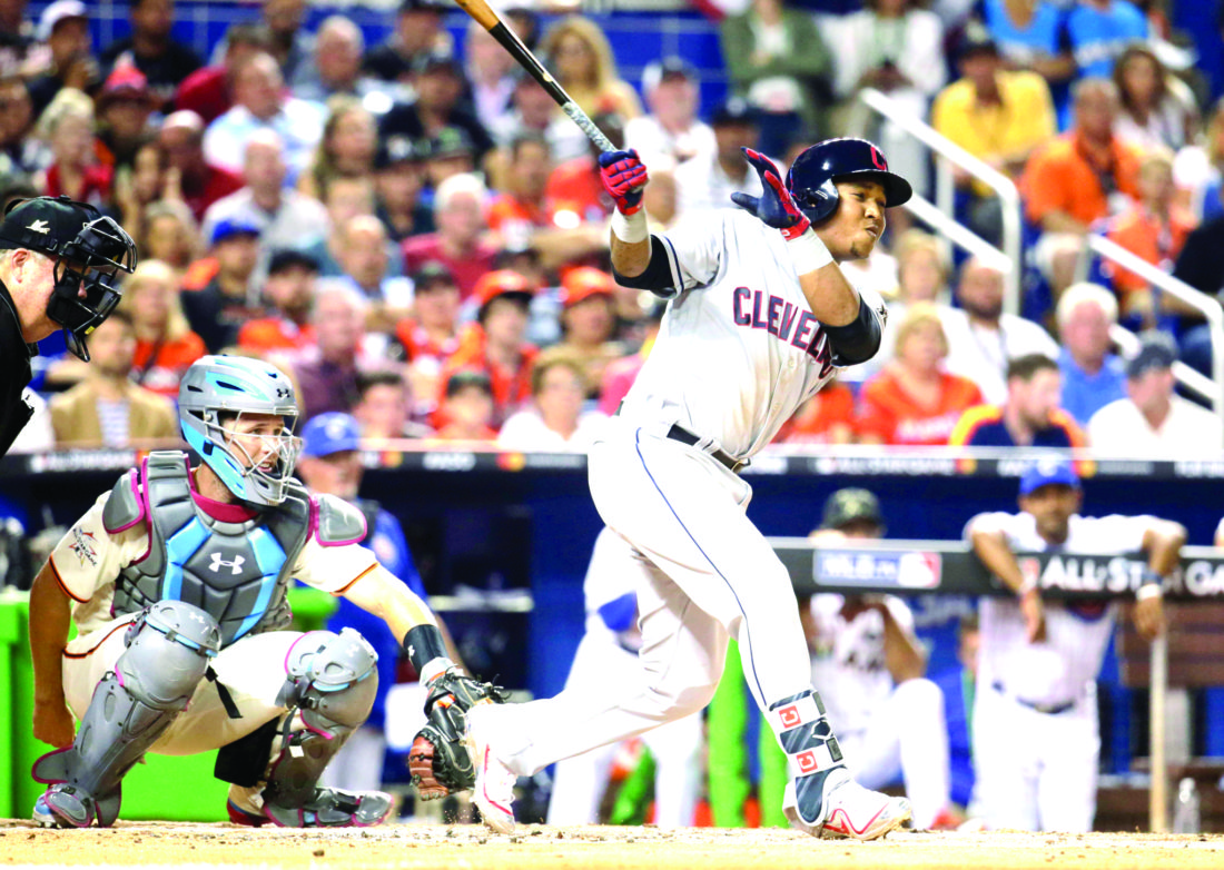 American League's Cleveland Indians JosŽ Ramlrez, singles during the third inning at the MLB baseball All Star Game Tuesday