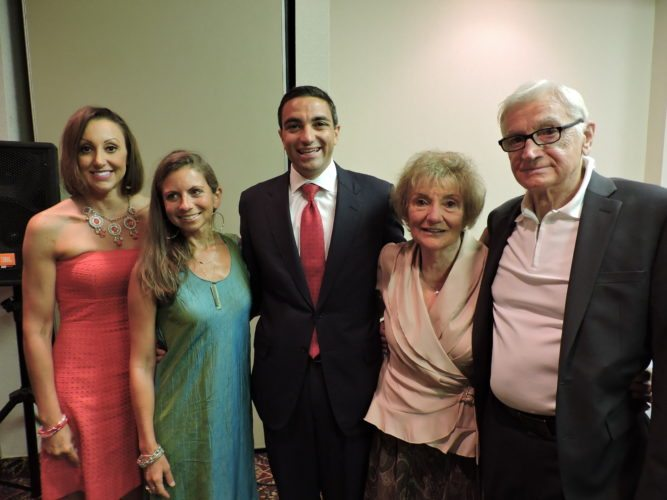 GENTILE HONORED — Former  state Sen. Lou Gentile, D-Steubenville, center, was surrounded by family as he was honored as the 35th-annual Upper Ohio Valley Italian Heritage Festival's 2017 Italian-American of the Year Wednesday in Wheeling. Surrounding Gentile are, from left, Josette Gentile-Drake, Hollie Gentile, Carmella Gentile and Lou Gentile Sr.  -- Janell Hunter