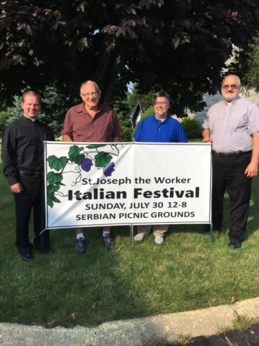READY FOR EVENTS — From left, the Rev. Dennis Schuelkens Jr., co-chairs John Dovec and Walter Ruszkowski and Deacon Vince Olenick are looking forward to St. Joseph the  Worker Church's Twilight Golf Tournament on July 28 and Italian Festival on July 30, both of which are sponsored by the church's pastoral council. -- Contributed
