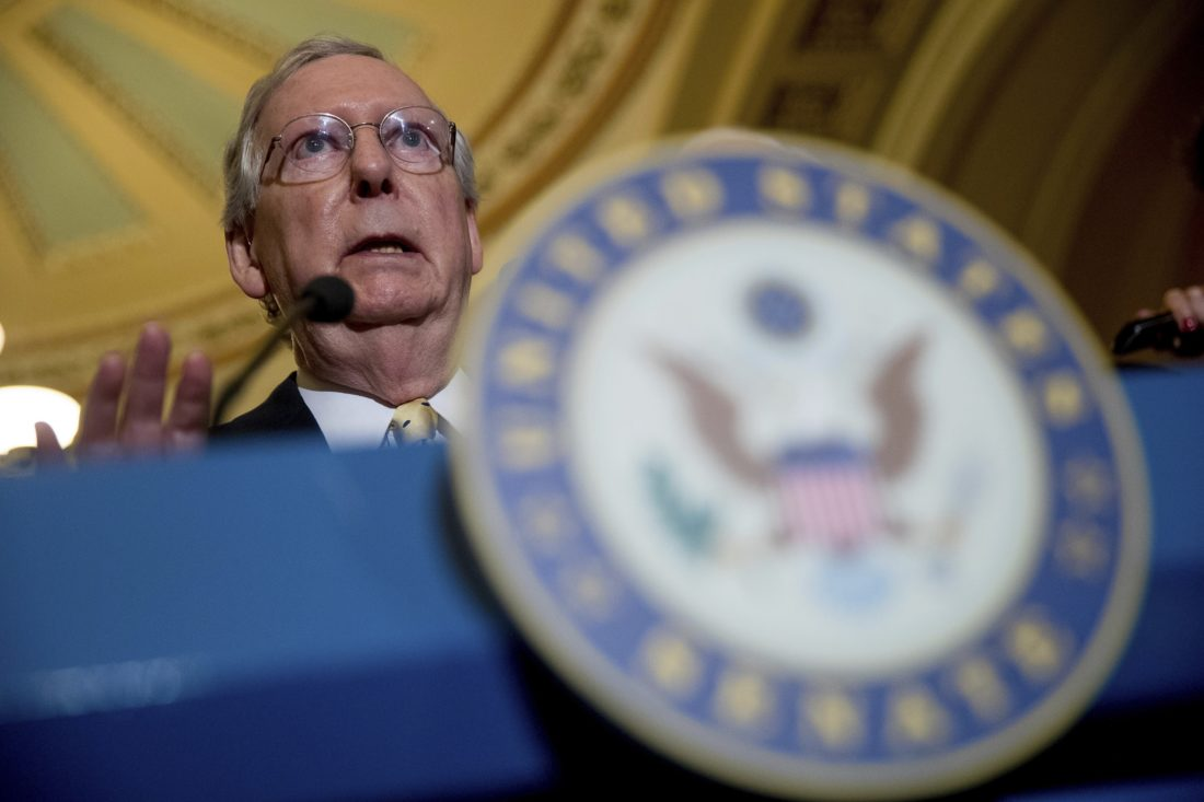 Senate Majority Leader Mitch McConnell of Ky. speaks at a news conference on Capitol Hill in Washington. Details of what the GOP plans to do with Obamacare remain unknown ahead of a key vote this week. — Associated Press