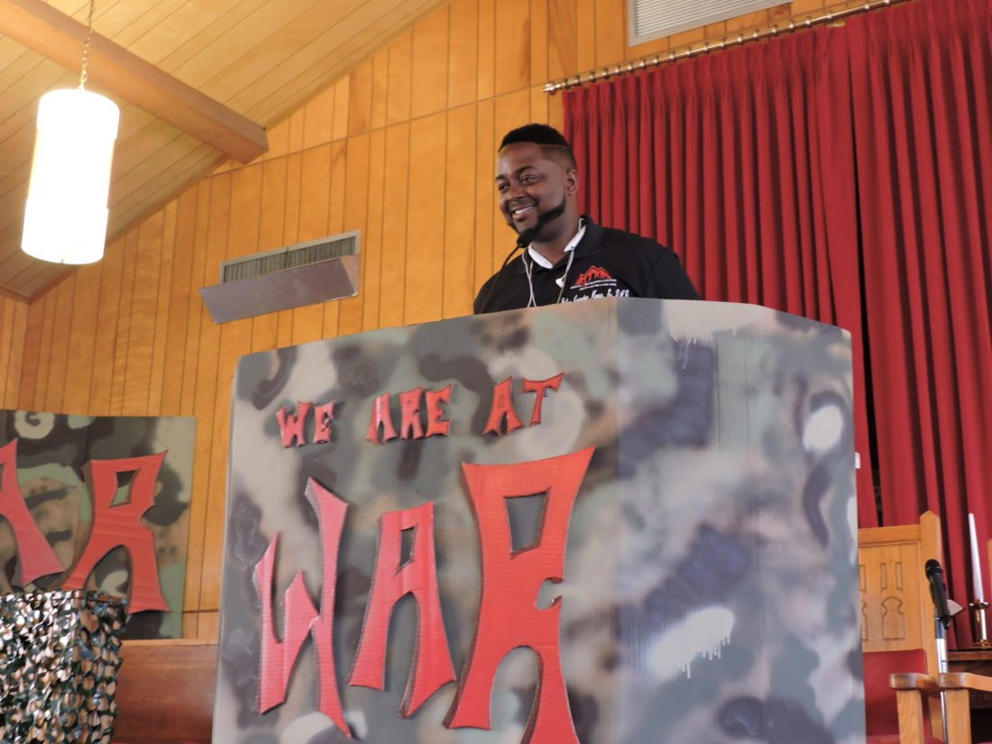 A CHURCH AT WAR — The Rev. Jermaine Moore, pastor of the Mount Zion Baptist Church on Seventh Street in Steubenville, addressed Vacation Bible School attendees Monday morning about the war against gangs, drugs and prostitution. -- Dave Gossett