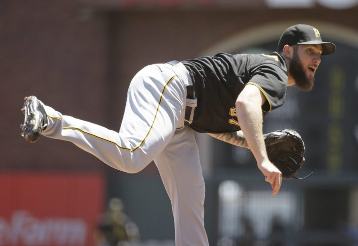 Pittsburgh Pirates starting pitcher Trevor Williams works in the first inning of a baseball game against the San Francisco Giants Wednesday, July 26, 2017, in San Francisco. (AP Photo/Eric Risberg)