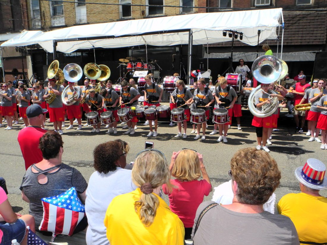 POPULAR PERFORMERS — The Indian Creek High School Marching Band was a very popular unit of the Mingo Community Days Parade, stopping in front of the festival's stage to perform a handful of rousing musical numbers. - Warren Scott