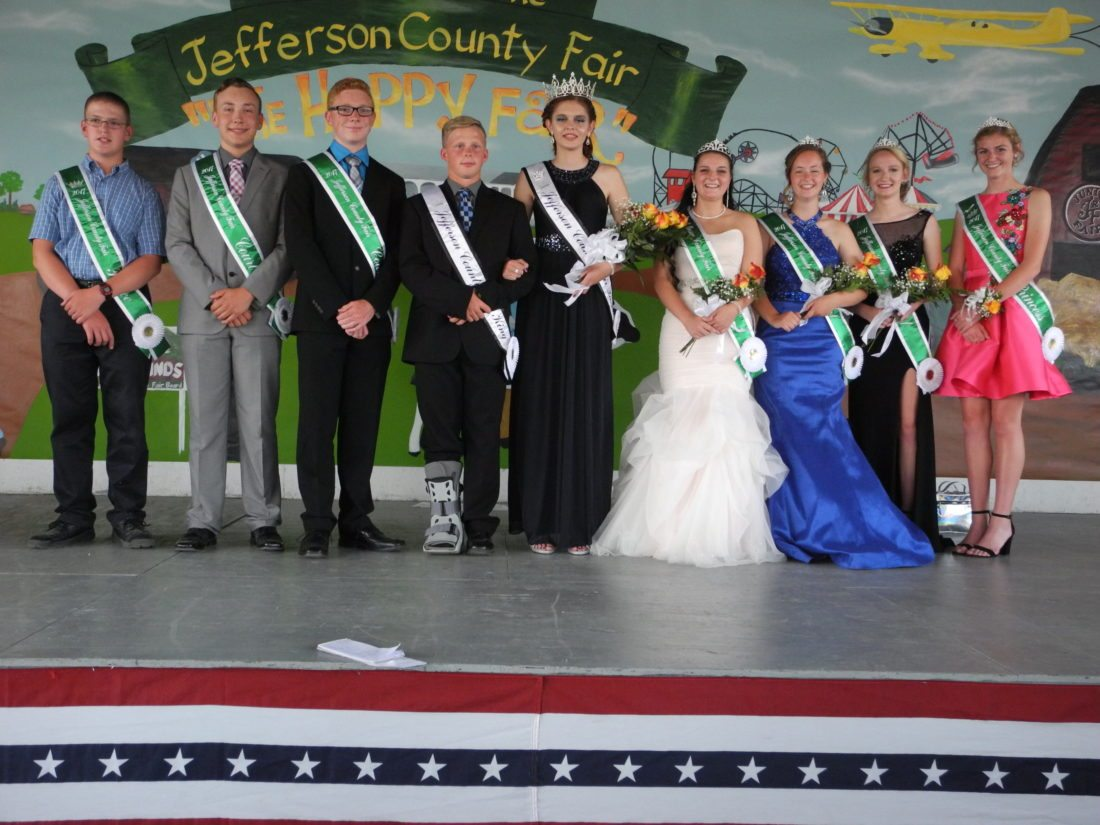 JEFFERSON COUNTY FAIR ROYALTY — Members of the Jefferson County Junior Fair court are, from left, D.J. Wetherell, 2017 junior fair prince; Owen Long and Matthew Rector, king's court; Joey Wood, 2017 junior fair king; Madeline Doyle, 2017 junior fair queen; Rachel Ewing, Brianna Pasco and Paige Everly queen's court; and Sarah Mazzaferro, 2017 princess. -- Esther McCoy