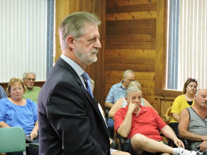 CHEMICAL DEVELOPMENT — John Payne, spokesman for an unnamed chemical refinery company spoke to Tiltonsville Council and residents about possible development plans in the area on Tuesday.
