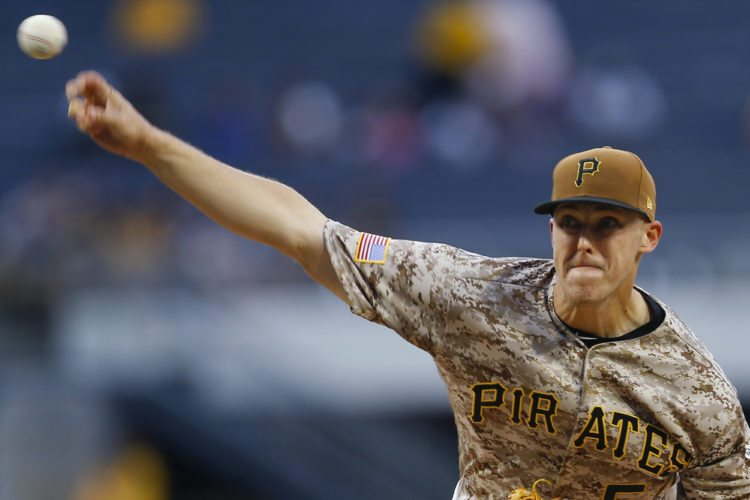 Pittsburgh Pirates starter Jameson Taillon pitches against the St. Louis Cardinals in the first inning of a baseball game, Thursday, Aug. 17, 2017, in Pittsburgh. (AP Photo/Keith Srakocic)