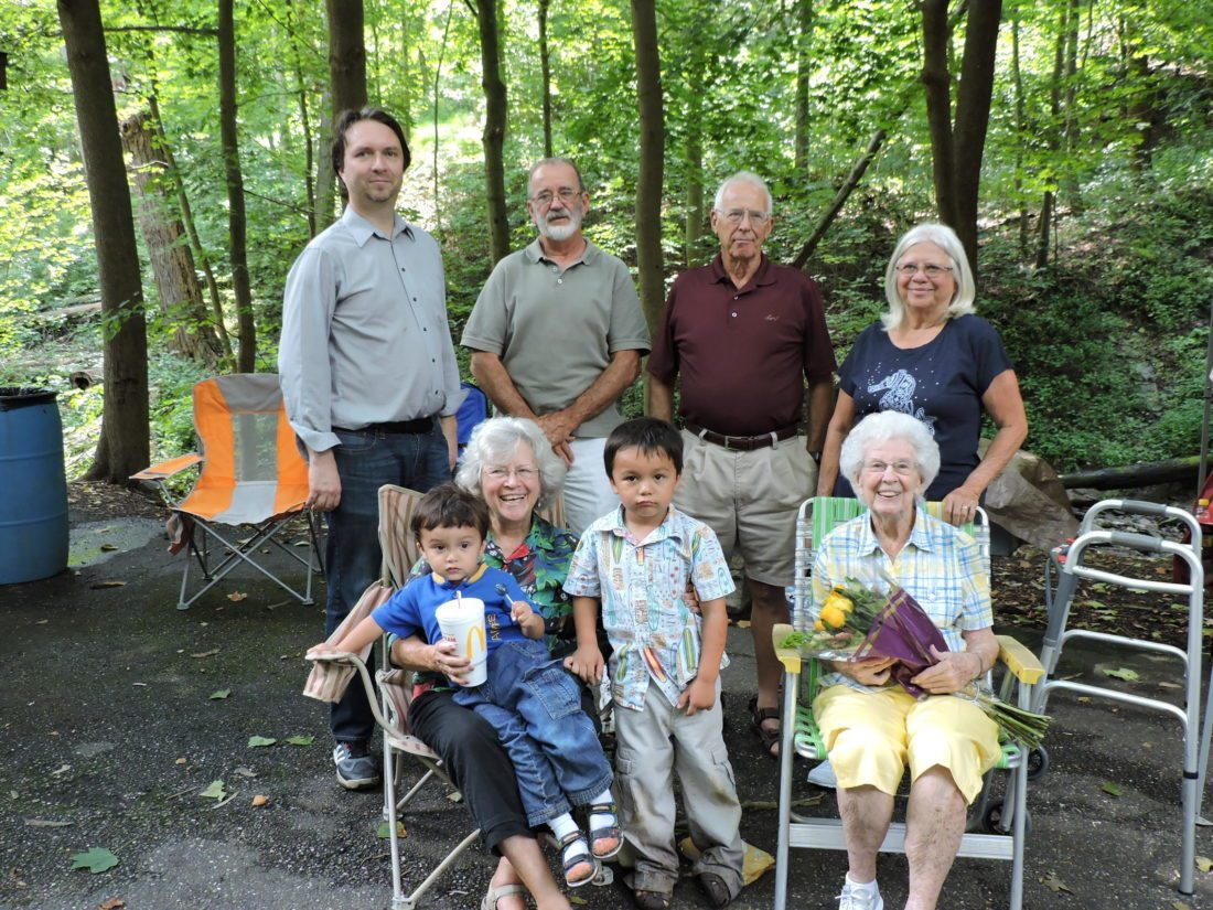 The Wells family enjoyed a family get together Saturday with the fifth-annual South End Reunion in Beatty Park. Getting together for a family photo were, seated from left, Catalino Farnsworth, Jennie Farnsworth and Charles Farnsworth, all of Beverly, and family matriarch 95-year-old Dorothy Wells. Standing are Edward Farnsworth, Scott Wells, Paul Wells of Wintersville and Janet McDaniel of Thainville, Ohio. — Dave Gossett