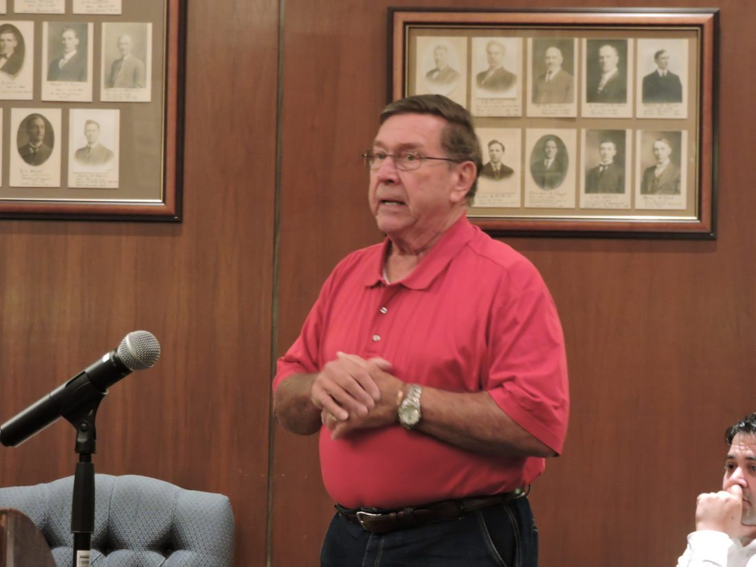 DISCUSSING CHANGE IN STEUBENVILLE —  Ed Florak of the Jefferson County Port Authority urged City Council members Tuesday night to consider using eminent domain as a tool for economic development. -- Dave Gossett