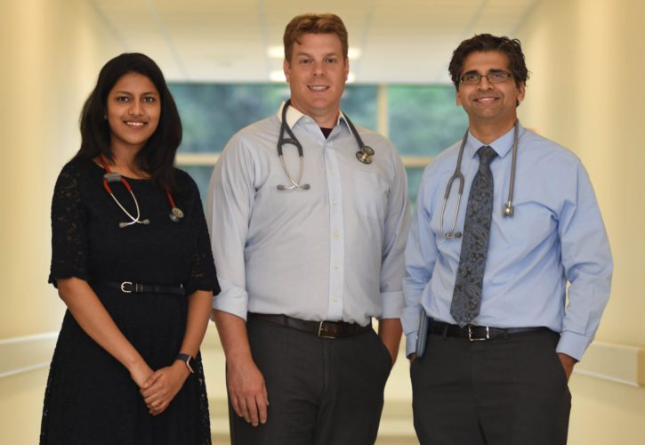 NEW HOSPITALISTS — Wheeling Hospital pediatric hospitalists are, from left, Dr. Sandhya Vethachalam, Dr. Brian Vaske and Dr. Anish Trehun. They are providing hospital coverage for pediatric patients during nights and weekends.