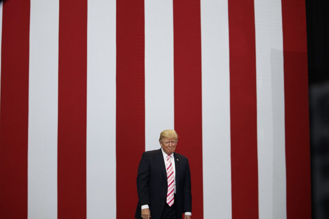 CAMPAIGN RALLY — President Donald Trump arrives for a campaign rally for U.S. Senate candidate Luther Strange, Friday in Huntsville, Ala.