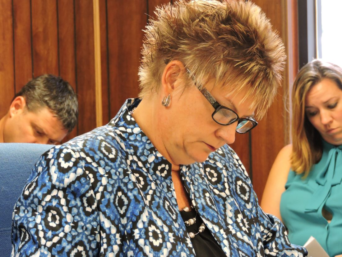 BOARD MEETING — Buckeye Local School District Superintendent Kim Leonard reads over the agenda during the Sept. 18 board of education meeting. — Dylan McKenzie