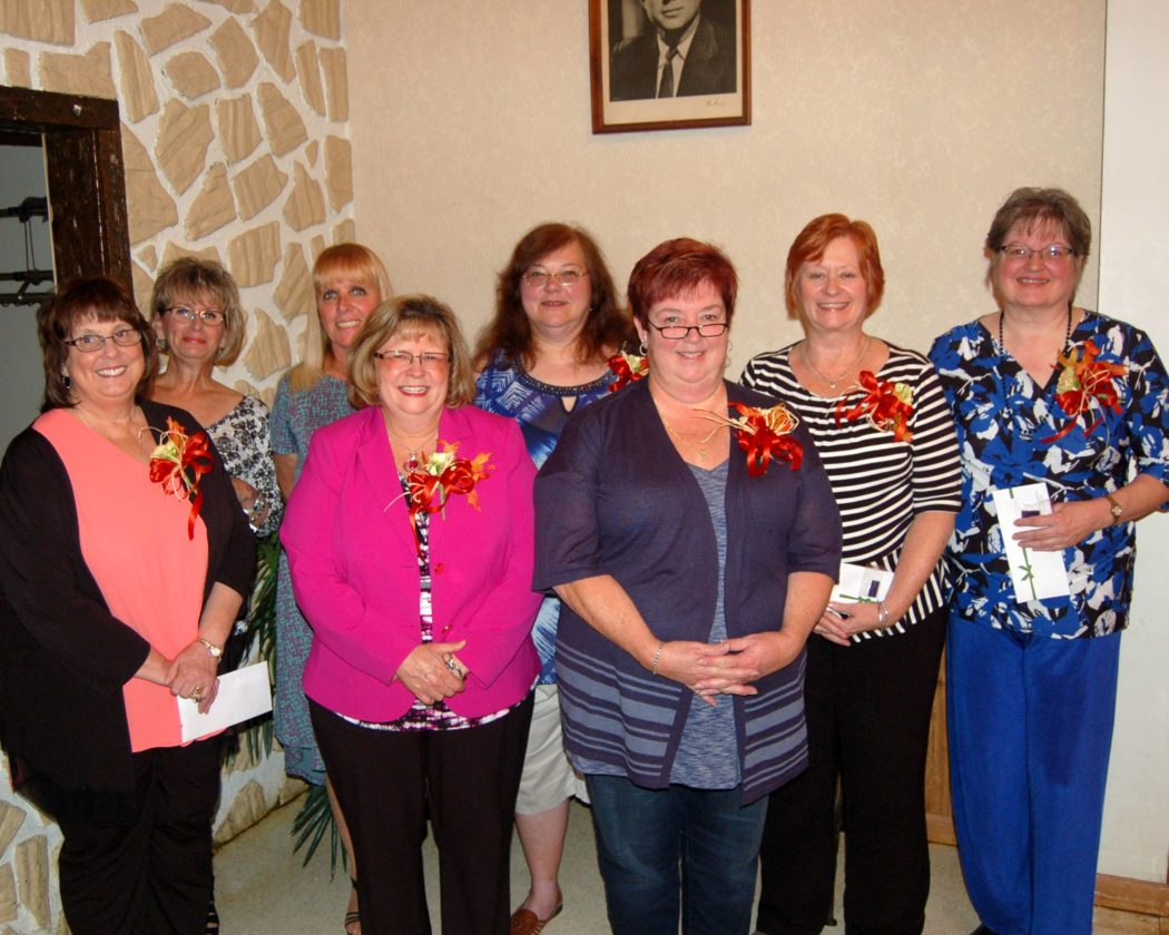 Trinity Health System employees with extended length of service recently were recognized during the employee service awards program. Those with 35 years of employment included, front, from left, Kathleen Rinaldo, Rosemary Ivkovich and Paige Wilson; and back, Michelle Cashioli, Lori Damis, Martha Lemal, Lee Lewis and Sharon Savinell. ,— Contributed