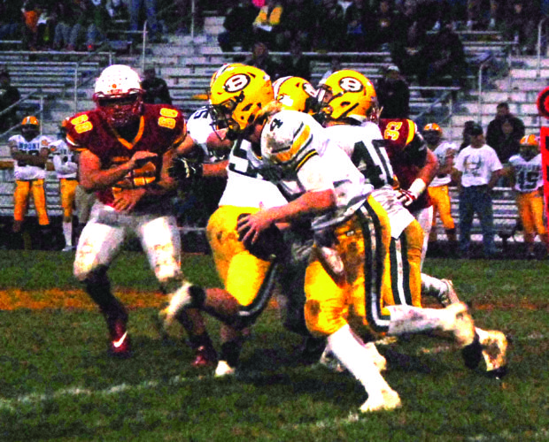 RUSHING — Brooke's Gage Yost rushes against Indian Creek on Friday. (Photo by Andrew Grimm)