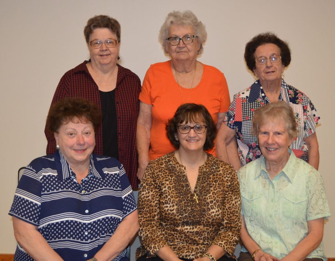 NEWOFFICERS — New officers of St. Agnes Catholic Woman's Club are, seated, from left, Barbara Crugnale, treasurer; Pat Cramblett, president; and Theresa Madden, vice president; and standing, Clara Sue Milewsky, secretary; Joanne Raha, auditor and past president; and Rose Ann Sacco, historian.  -- Contributed