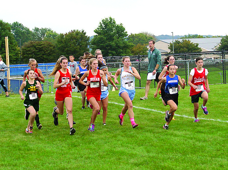 OFF THEY GO — Local cross country teams start the girls portion of the Franciscan Invite Thursday at Franciscan University of Steubenville. -- Andrew Grimm).