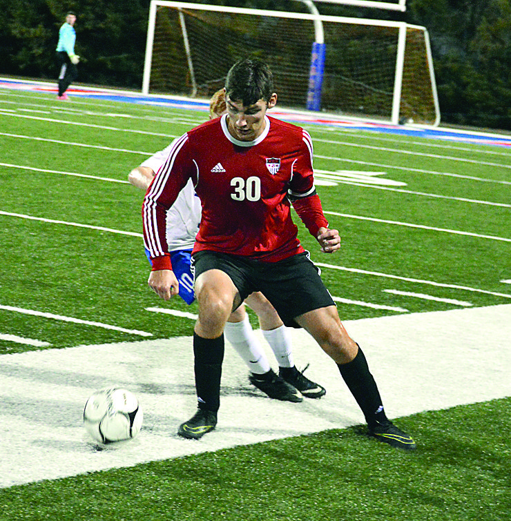 OUT IN FRONT — Weir's Ben Fedoush plays against Wheeling Park on Thursday (Photo by Cody Tomer).