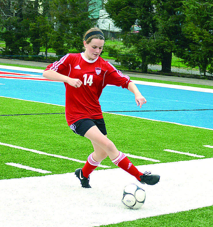 SAVING — Weir's Faith Riggle saves the ball from going out of bounds against Wheeling Park on Thursday (Photo by Cody Tomer).