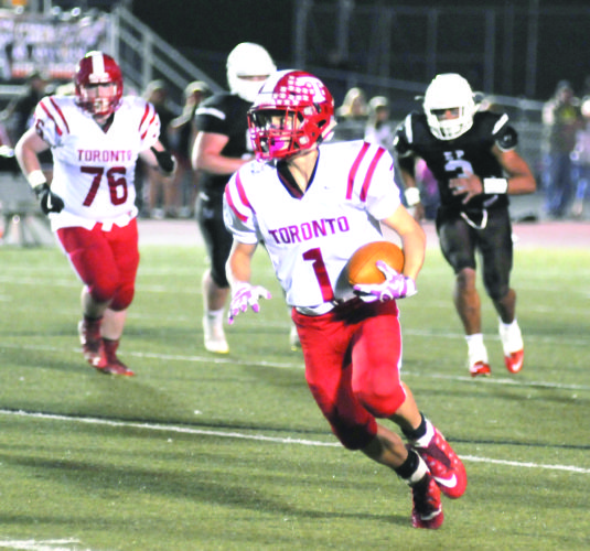 RUNNING ROOM — Toronto's Garrett Dozier runs against East Palestine on Friday. (Photo by Ron Firth)