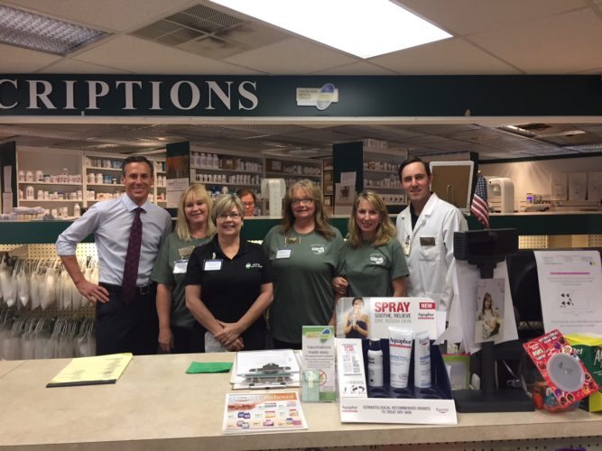 Follansbee Pharmacy will be hosting its annual free health fair Wednesday at the Follansbee Community House. Making plans for the event are, from left, owner and pharmacist Aldo Crisante, pharmacy technicians Christine Keller, Karen Barker, Denise Roush, and pharmacists Beth Ann Fink and Kurt Smith — Contributed