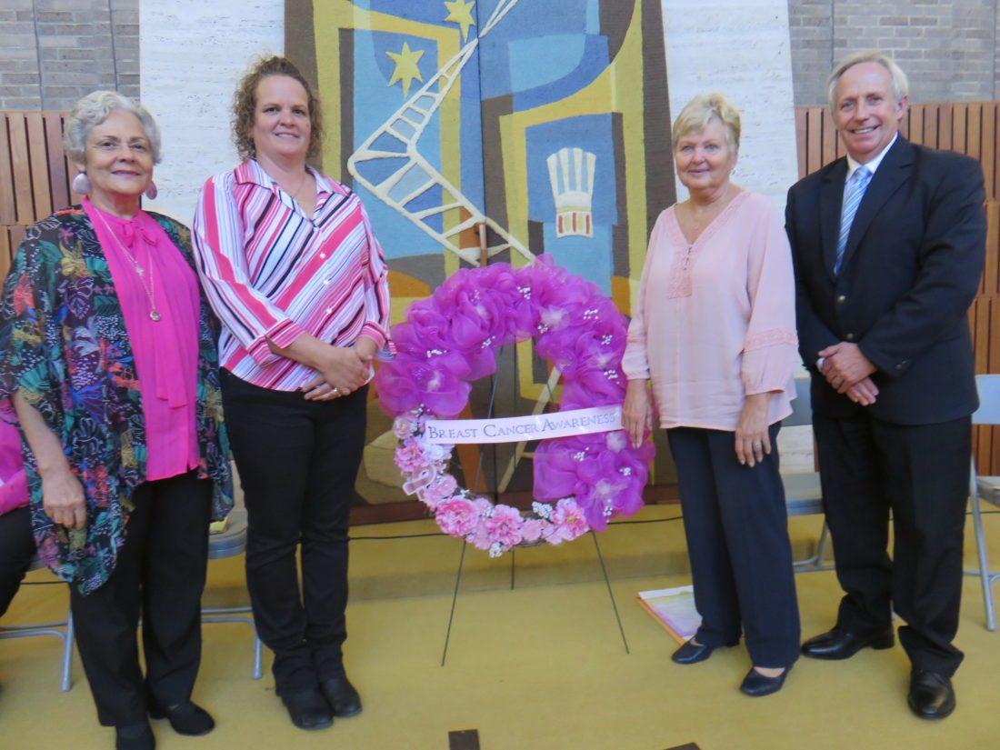 CEREMONY HELD — In honor of Breast Cancer Awareness Month, the Women In Action Against Cancer Coalition of Jefferson County held its 20th-annual Ohio Mammography Day Wreath Ceremony Wednesday afternoon at the Prime Time Senior Center in Steubenville. Among those involved in the program were, from left, Carole Valentine, guest speaker who shared her survivor story; coalition representatives and event co-chairs Leslie Aftanas and Janet Sharpe; and Jefferson County Commissioner Tom Graham, who provided musical selections and presented a proclamation on behalf of the commissioners.  -- Janice Kiaski