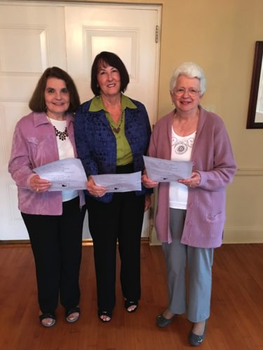 "MEETING HIGHLIGHTS — The October meeting of the Fidelis Gamma Chapter of Alpha Delta Kappa International Honorary Teachers Sorority included,  from left, Bonnie Queses, Nancy Conley and Jerry Defilippo leading the group in ""A Founders' Day Rap"" to recognize Alpha Delta Kappa Founder's Day.  -- Contributed"