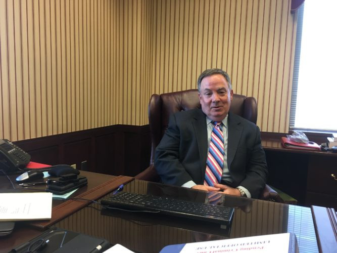 NEW U.S. ATTORNEY — William Powell, the newly appointed U.S. attorney for the Northern District of West Virginia, discusses his new role Tuesday at the Federal Building in Wheeling.