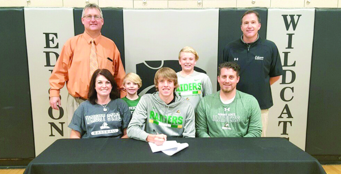 SIGNING DAY — Edison senior Tristan Haught made it official Wednesday, signing his letter of intent to play baseball at Wright State University in Dayton. He is shown with his parents, Christina and Kristopher Haught. Standing are Edison principal Matt Morrison, Haught's brothers Brady and Xander, and Edison baseball coach Mike Collopy. -- Contributed