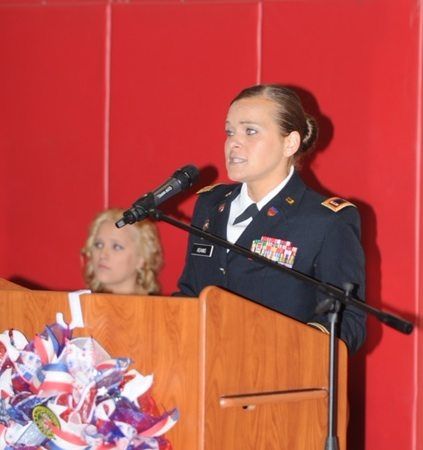 VETERANS SERVICE — Chief Warrant Officer 2 Amy Adams served as guest speaker of a special Veterans Day service held Thursday at Toronto Junior/High School. Sponsored by the social studies department, the event included guests from American Legion Post 86 and veterans from the area.