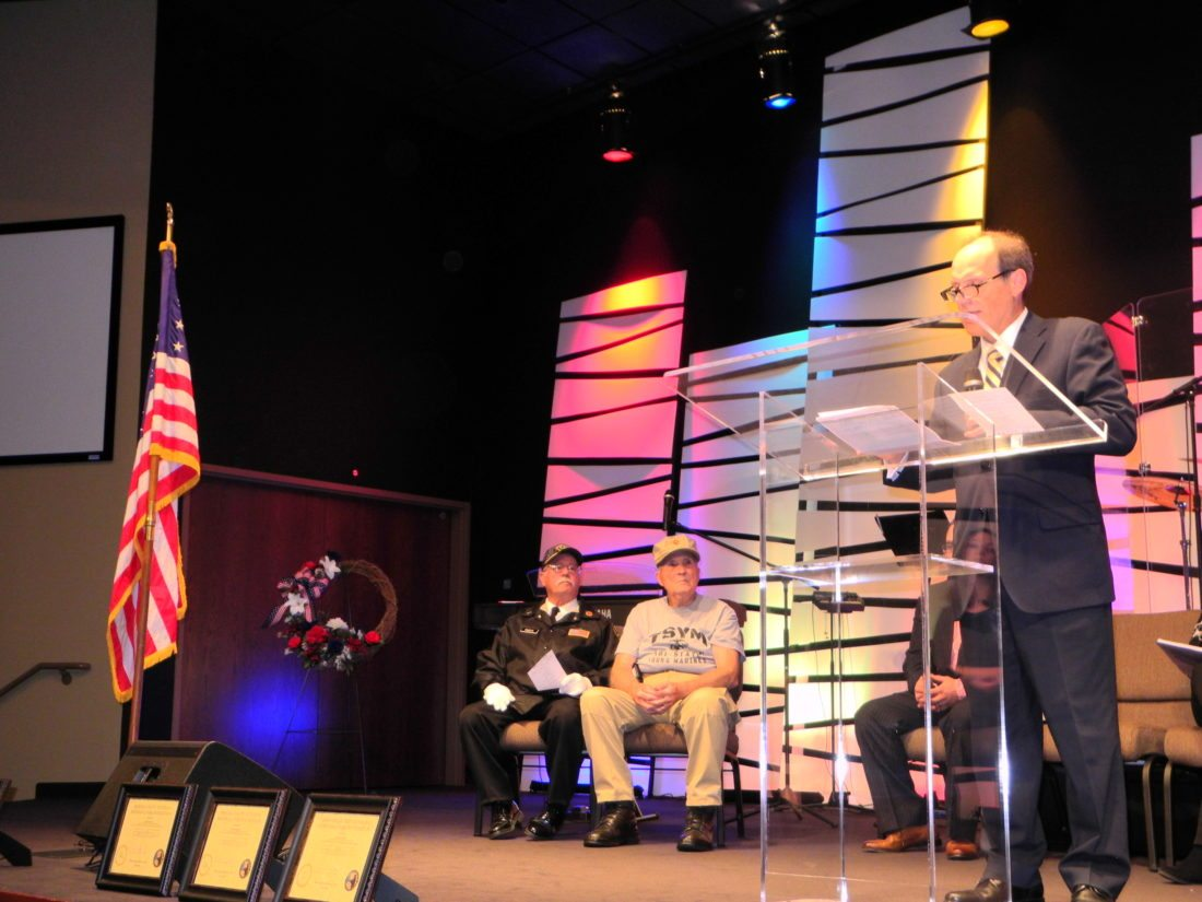 VETERANS REMEMBERED — Attorney Bill Cipriani reflected on the military service of his late father, Anthony, and other local veterans at a Veterans Day service held Friday by the Brooke County Veterans Memorial Park Foundation at Brooke Hills Free Methodist Church.