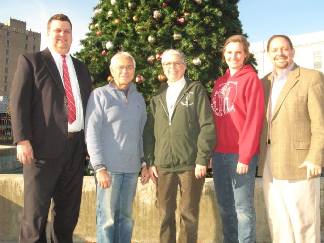 Trinity Health System was thanked Friday at Historic Fort Steuben for being the presenting sponsor for the Nutcracker Village and Advent Market. Trinity has committed to donating $30,000 during the next several years to help expand the annual event from four to six weeks. Participating in the event were, from left, Joe Edmiston, Trinity executive director for development; Jerry Barilla, Historic Fort Steuben president; Judy Bratten, Historic Fort Steuben executive director; Madeline Nelson of Nelson's of Steubenville; and Matt Grimshaw, Trinity president and chief executive officer. — Mark Law