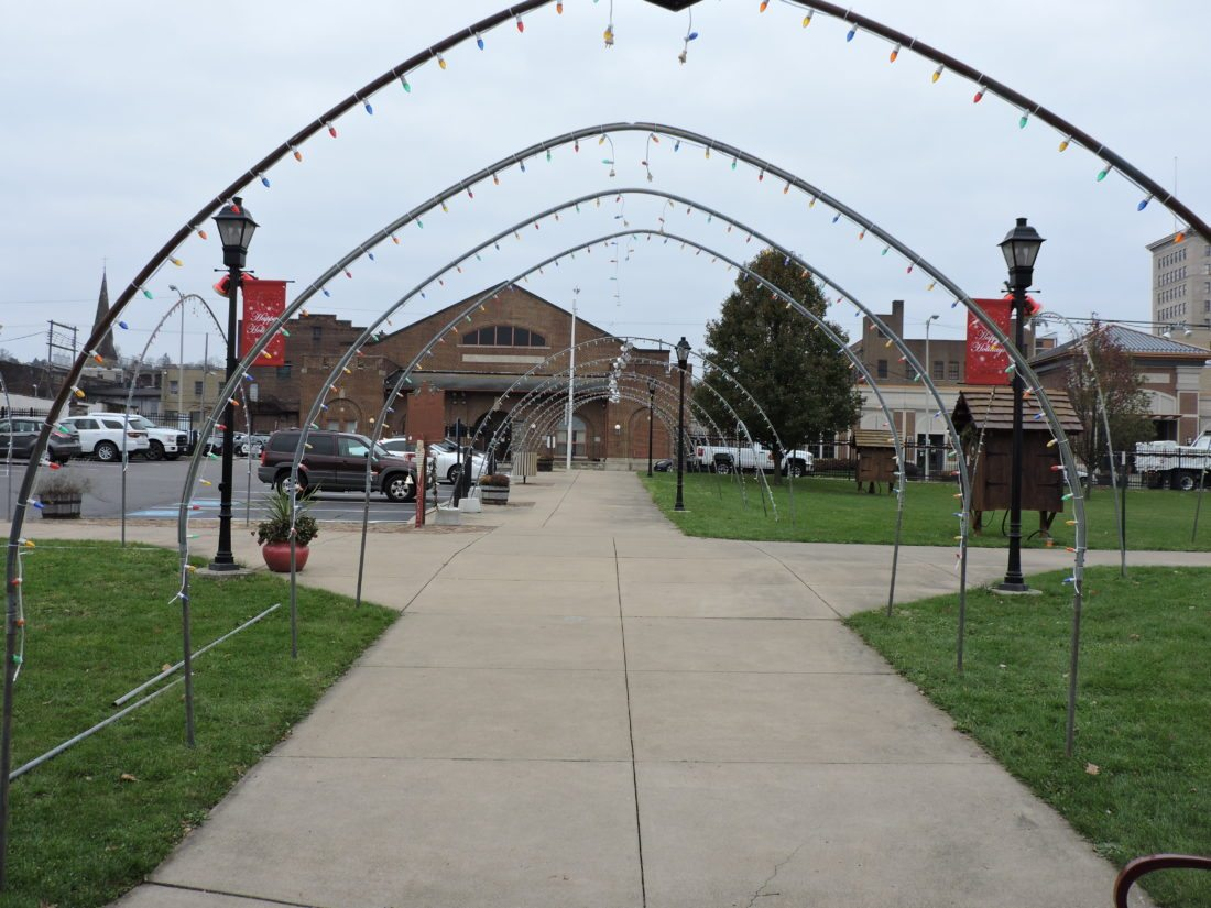 THE CALM BEFORE THE NUTCRACKERS ARRIVE — The main sidewalk from South Third Street to the Steubenville Visitor Center is set for the arrival of the nutcrackers this week in anticipation of Steubenville Lights Up the Night. The annual event is set for Tuesday evening in the Historic Fort Steuben Park. -- Dave Gossett