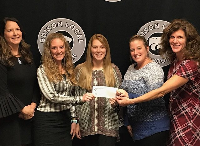 GRANT AWARDED — Several teachers in the Edison Local School District have received $600 best practice grants from the Jefferson County Educational Service Center. On hand for Thursday's presentation were, from left, JCESC Coordinator Patty Ferrell and recipients Megan McNear, Jordan Byrley, Stephanie Stevens and Kari Byers.